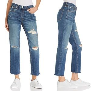 Rag&Bone High Rise Distressed Ankle Straight Jeans